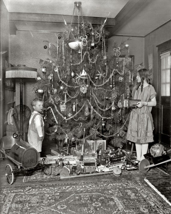 Children around the Christmas Tree- Holiday Scene c.1920s: Old Antique Vintage Photograph Photo Print *Reproduction*