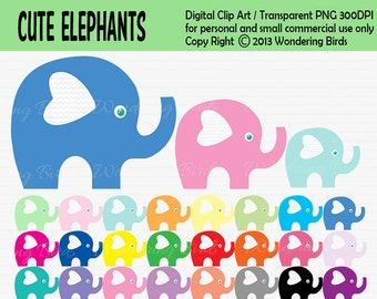 Elephant Clipart For Personal and Commercial Use - Digital Clip Art - Instant Download, colorfull elephants