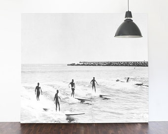 """Vintage Illustration, Surfers, Black and White Beach Wallpaper, Surfing photography - 144"""" x 92"""""""