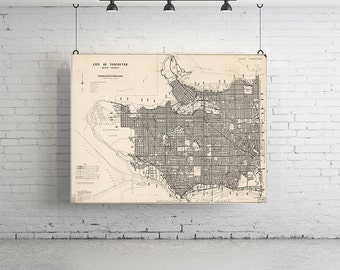 "42"" x 28"" Map of Vancouver - Large, Vintage Maps Print"