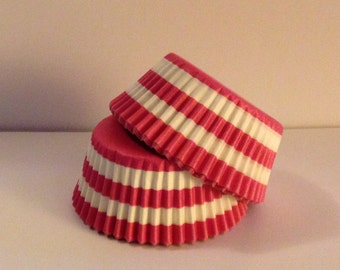 Clearance! 50 count - Greaseproof Pink Rugby Stripe design standard size cupcake liners/baking cups