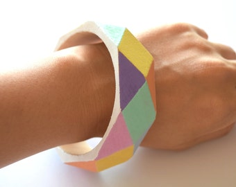 Geometric hand painted wooden bangle bracelet,  candy colours bangle, jewellery gift