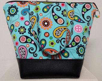 Insulated Lunch Bag,Vinyl Bottom, Paisley,Aqua,Orange,Nylon Lining,Inner Zipper Pocket,Washable, Reusable, School Lunch Bag, Work Lunch Bag,