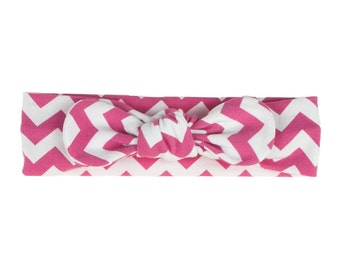 Baby Headband, Toddler Headband, Adult Headband, Baby Girl Headband, Top Knot Headband, Bow Headband, Pink and White Chevron Headband