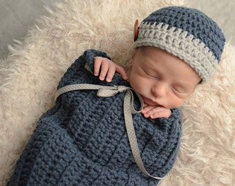 Crochet  newborn cacoon, snuggle sack with matching hat for a baby boy. Photo prop
