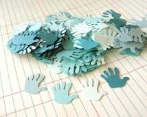 180pcs Blue Hand Print Confetti 7/8 Inch Hand Die Cut Paper Party Decoration