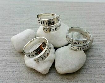 Sterling silver hand stamped wrap ring personalised keepsake