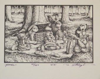 Teddy Bears Picnic B&W Offset Print