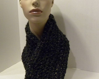 Thick crocheted cowl scarf in charcoal black with silver thread