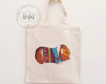 Cotton Tote Bag Archie Guinea Pig Illustration - Custom Name Personalised Canvas Cotton Tote Bag - Write Any Name - Gift