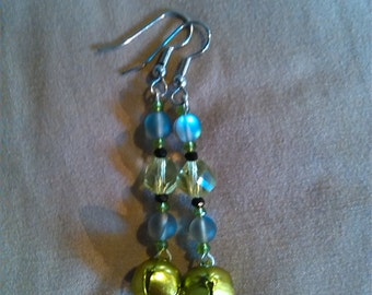Pixie green jingle bell dangle earrings with gray aura moonstone and pixie green & black swarovski crystal