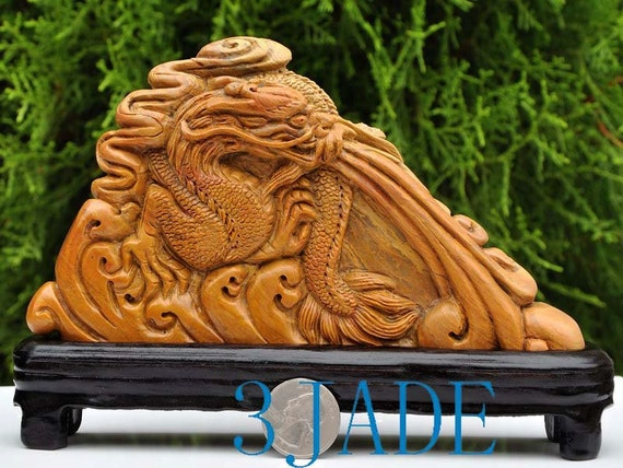 Natural shoushan stone carving dragon statue by jadestore