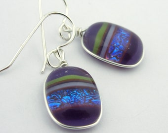 Dichroic Glass Earrings: Sephirot - Purple Ice Blue Green Wire Wrapped