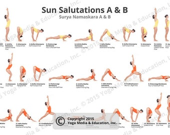 Sun Salutations A & B Poster of Yoga Poses