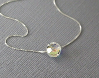 Swarovski Faceted Disc Crystal on Fine Sterling Silver Necklace Chain