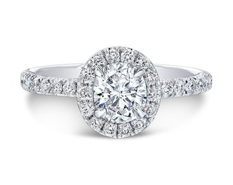 Oval Halo Engagement Ring EGLUSA H SI1 0.52ct set in 14K White gold Halo Design