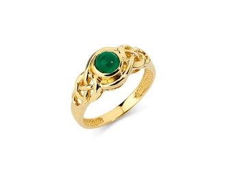 14K Gold Emerald Ring, Emerald Ring, Gold Ring, Emerald Jewelry, Gold Jewelry, Fancy Ring, Fancy Jewelry, Irish Ring, Irish Jewelry, Emerald