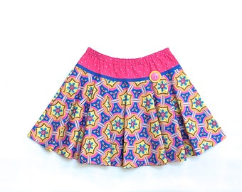 Girls Skirt, Toddlers Twirly Circle Skirt, Pink, Yellow, and Blue Size 5 Only by 8th DayStudio