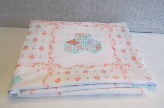 Vintage cotton nursery print fabric remnant baby nursery print for Nursery print fabric