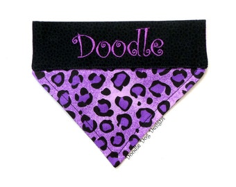 "Personalized Dog Bandana/ Pet Bandana/ Over the Collar Dog Bandana/ ""Purple and Black Leopard Print"""