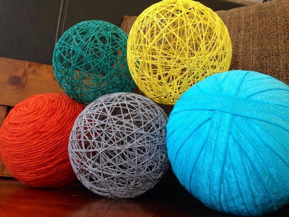 Splash of color large decorative balls yarn string