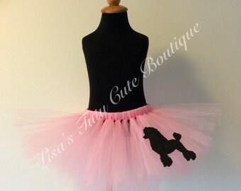 poodle tutu, poodle skirt tutu, poodle skirt, pink tutu, 50s tutu, pink poodle tutu, pink poodle skirt
