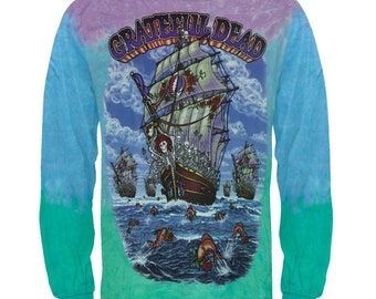 XL Grateful Dead Skeletons Ship Of Fools Long Sleeve Tie Dye T Shirt Extra Large
