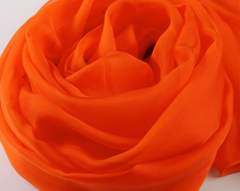 Orange Red Silk Scarf - Orange Red Mulberry Silk Chiffon Scarf - AS2015-2