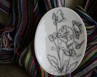 Oval Flower Sketched Plate, Hand Sketched Ceramic Plate Earthenware, Jewellery