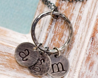 Mother's Necklace, Personalized Necklace, Initial Charm Necklace, Letter Charm Necklace, Personalized Jewelry, Personalized Charms, Necklace