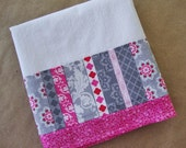 Flour Sack Towel - Kitchen Towel - Lint Free Tea Towels - Fabric Trimmed Towel - Grey and Pink Kitchen Towel