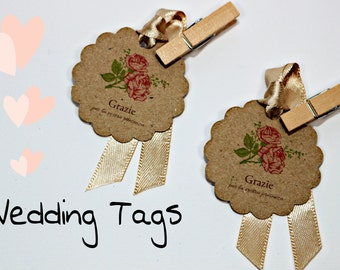 "15 tags in kraft paper ""bed of roses"""