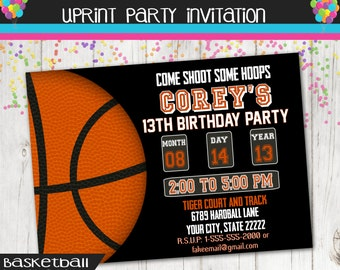 Basketball Party - Basketball Invitation - Must See Other Colors - Custom - Sports Invitation