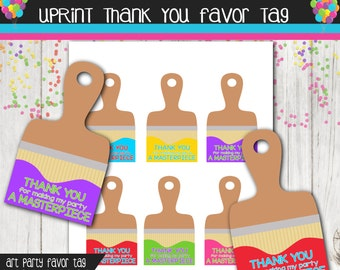 Artist Party Thank You Tags - Art Party - Paint Party - Custom - Printable