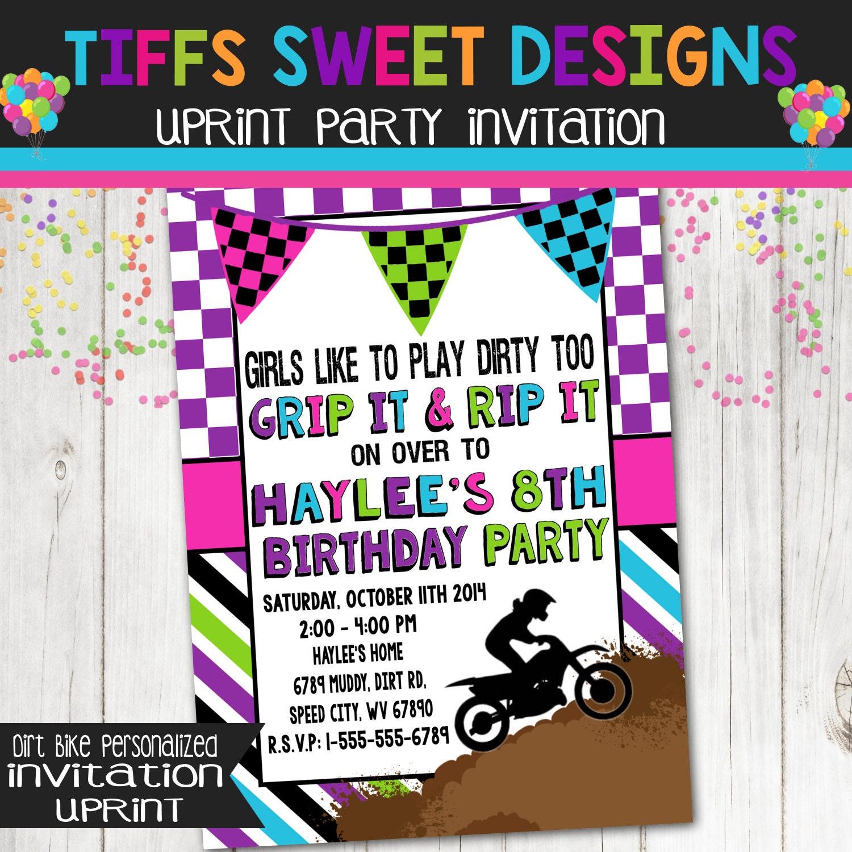 Dirt bike birthday party invitation girl dirt bike birthday party invitation dirtbike filmwisefo