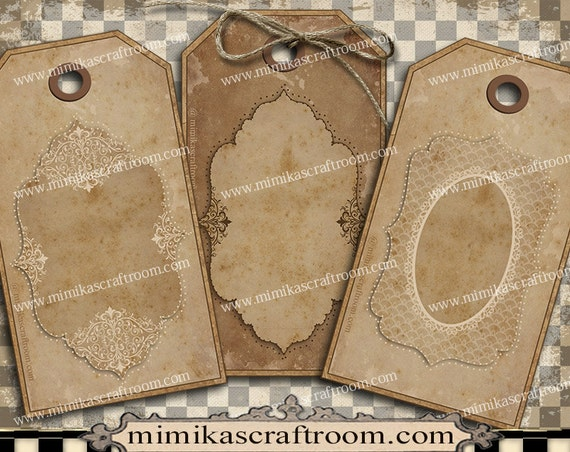 Blank Printable Tags: Elegant Love Digital Gift Tags Shabby Chic Paper, Blank