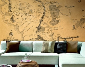Wall map of Lord of the rings - Large wallpaper - wall mural - Removable self-adhesive vinyl wallpaper - Middle Earth wallpaper