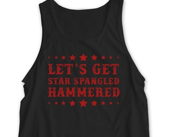 """New """"Let's Get Star Spangled Hammered®"""" Holiday Unisex Tank Top for 4th of July, Cookout, Bar Crawl, Party, Friend, Gift, Present S-2xl"""