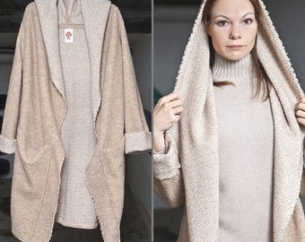 "Fall winter coat,Long coat ""Tamara"" Beige, Oversized Coat, Sweater, Long Coat for Women, Street Fashion, wool coat, clothes,Knittwear,"
