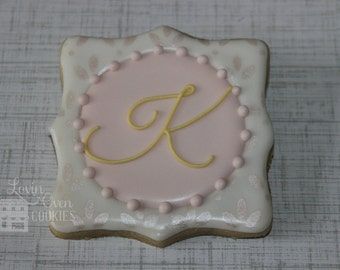 1 Dozen Elegant Monogram Decorated Sugar Cookies