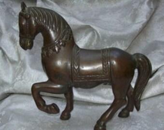 "Antique CHINESE Cast Bronze HORSE SCULPTURE Figurine Standing standing 7"" Tall"