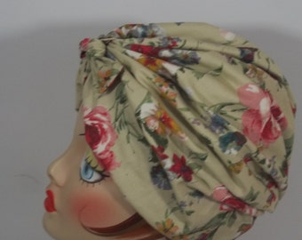 Cotton, fashion turban, hat, off white, floral,  full turban, chemo, vintage style, designer, size Sm, Med, L, XL. Free shipping in USA.