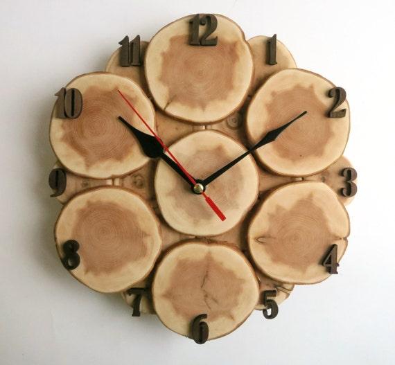 Orologio da parete fetta di albero albero parete orologio in - Parete in legno fai da te ...