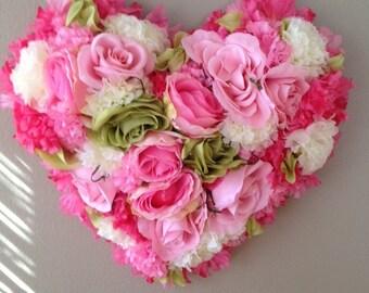 Shabby Chic Heart Wreath, Valentines Day heart shaped wreath/valentines day decoration For front door or entry way or any wall, Medium