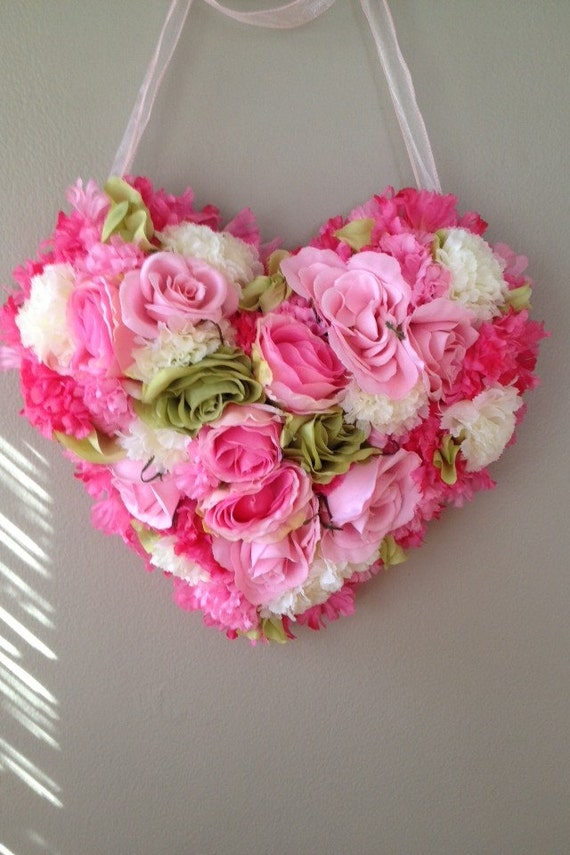 Shabby Chic Heart Wreath Valentines Day Heart Shaped