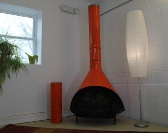 Mid-Century Orange Gas Fireplace