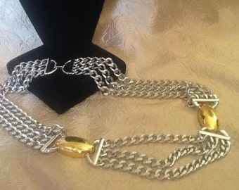 MONET Silver and Gold 3 Chain Necklace