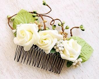 Cream Rose Hair Comb, Rustic Head Piece, Woodland Hair Comb, Boho Hair Accessory, Bridal Hair Comb, Flower Hair Comb Cream Floral Hair Piece