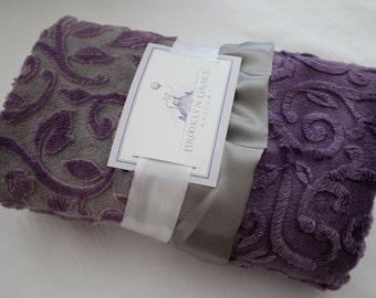 Mar Bella Minky Granada Cuddle Violeta Purple - Baby Blanket with Charcoal Gray Satin Ruffle Trim - New Baby, Shower Gift, Crib Bedding