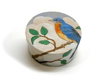 Vintage 1992 Round Box with Blue Bird Hand Painted Wood